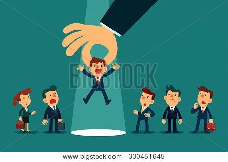 Employer Hand Choosing A Businessman By Pick Him Up From A Group Of Business People. Business Recrui