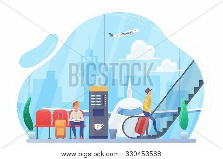 People In Airport Hall Flat Vector Illustration. Passengers With Suitcases Cartoon Characters. Trave
