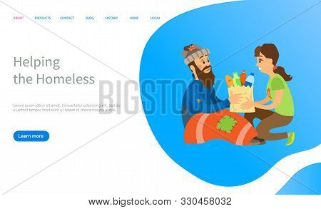 Helping To Homeless, Woman Volunteer Giving Products To Beggar Man, Charity Online For Vagabond, Poo