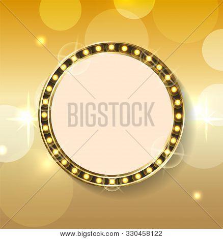 Empty Banner With Space For Text Vector, Frame Isolated On Bokeh Background. Luxury Gold Style Of Fr