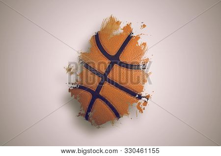 Basketball Banner Background. Abstract Basketball Paintbrush Background With Copy Space.