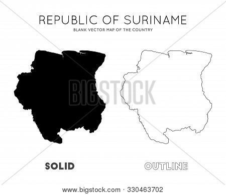 Suriname Map. Blank Vector Map Of The Country. Borders Of Suriname For Your Infographic. Vector Illu