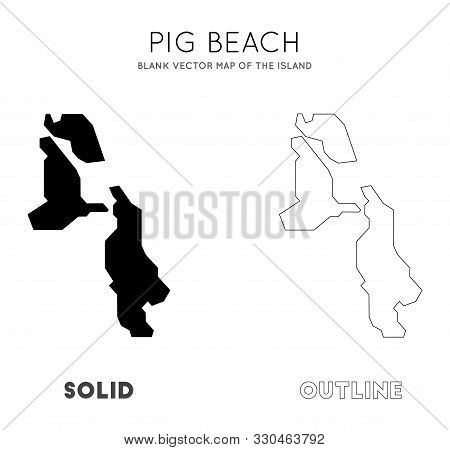 Pig Beach Map. Blank Vector Map Of The Island. Borders Of Pig Beach For Your Infographic. Vector Ill