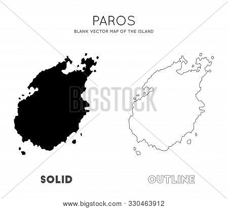 Paros Map. Blank Vector Map Of The Island. Borders Of Paros For Your Infographic. Vector Illustratio