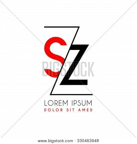 Sz Logo Letter Separated By A Black Zigzag Line