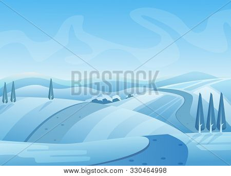 Blue Winter Landscape Vector Illustration. Snowy Hills With Trees. Road On Snow. Wintertime, Cold We