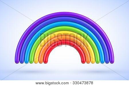 Colorful Rainbow Arch 3d Vector Illustration. Plasticine Or Clay Design Element