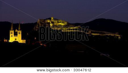 Chapter Spisska and Spissky Castle at night, Slovakia