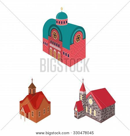 Vector Illustration Of Architecture And Building Sign. Set Of Architecture And Clergy Vector Icon Fo