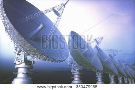 Alignment Of Giant Satellite Dishes For Signal. 3d Illustration, Concept Of Science And Technology O