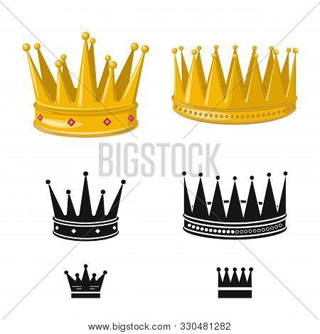 Vector Design Of Medieval And Nobility Logo. Collection Of Medieval And Monarchy Stock Vector Illust