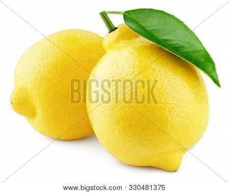 Two Whole Yellow Lemons With Green Leaf Isolated On White Background. Lemons Citrus Fruit With Clipp