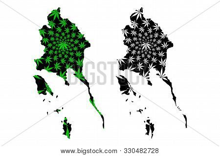 Trat Province (kingdom Of Thailand, Siam, Provinces Of Thailand) Map Is Designed Cannabis Leaf Green