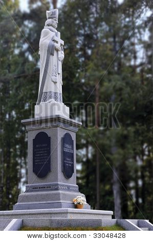 Sculpture Of St. Meinard, First Bishop Of Livonia, Sculptor Victor Sushkevich, Monument Erected In 2