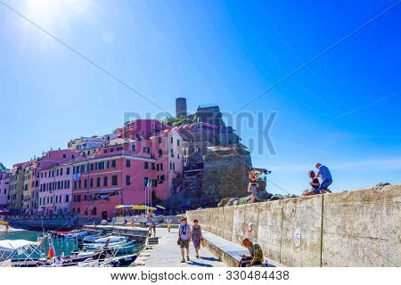 Vernazza, Italy - September 14, 2019: Boats And Beach In Vernazza Town, Cinque Terre National Park