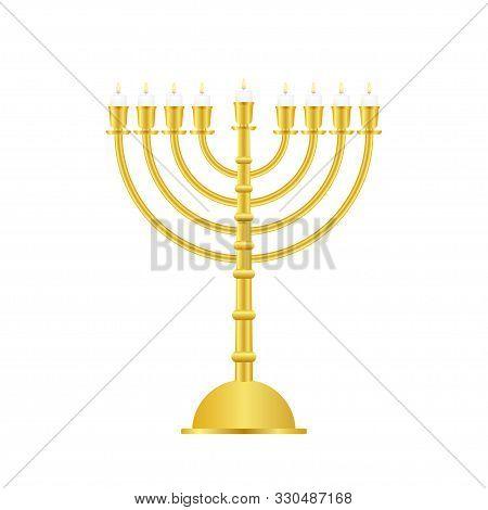 Realistic Gold Hanukkah Menorah Icon On White Background. Vector Stock Illustration