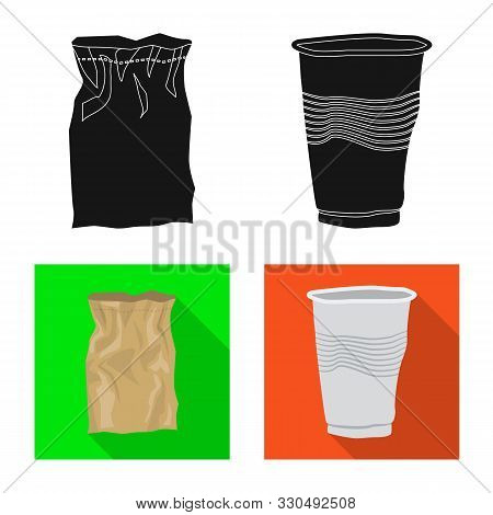 Isolated Object Of Refuse And Junk Symbol. Set Of Refuse And Waste Vector Icon For Stock.