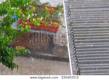 Drainpipe Full Of Water During The Rainstorm