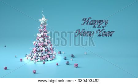 Holiday Background. Merry Christmas And Happy New Year Concept. 3D Rendering Of Xmas Tree