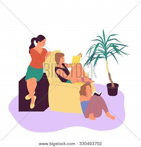 Three Girls Are Sitting In Armchair And Reading Book Together In Cosy Room With Potted Tropical Plan