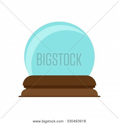 Crystal Ball Decoration Magic Glass Symbol Vector Icon. Future Bright Blue Sphere Teller. Snow Globe