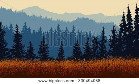 Horizontal Illustration Of Red Grassy Meadow And Blue Coniferous Forest Hills.