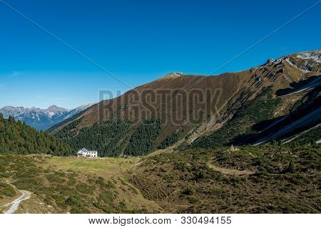 View At The Senders Valley And  Adolf Pichler Mountain Hut Near