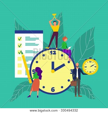 Time Management Concept Art. Group Of People Around Big Clock, Man Holds Golden Cup, Woman Marks Tas