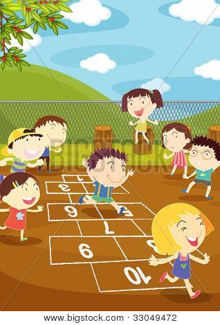 Illustration of kids playing hopscotch in a playground - EPS VECTOR format also available in my portfolio.