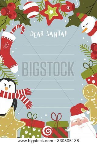 Cartoon Christmas Wish Christmas Items. A Letter To Santa Claus Template. Christmas Background With