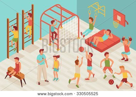 Kid Sport Gym Isometric Composition With Characters Of Children Doing Sports In School Gymnasium Wit