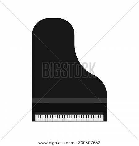 Grand Piano Black Vector Icon Top View. Art Symbol Music Keyboard Symphonic Furniture. Above Classic