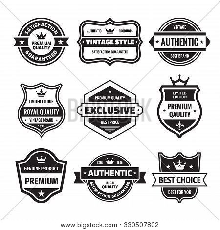 Business Badges Vector Set In Retro Design Style. Abstract Logo. Premium Quality. Satisfaction Guara