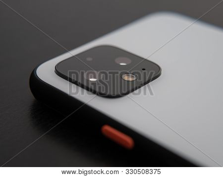 Uk, October 2019: Pixel 4 White Smart Phone Close Up Camera Lens And Power Button