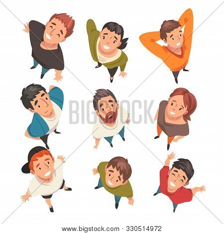 Smiling People Characters Looking Up Set, View From Above Vector Illustration