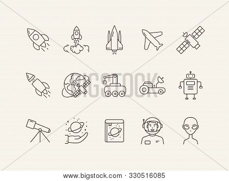 Space Technology Icon Set. Planet And Satellite, Robot, Telescope. Space Technology Concept. Vector