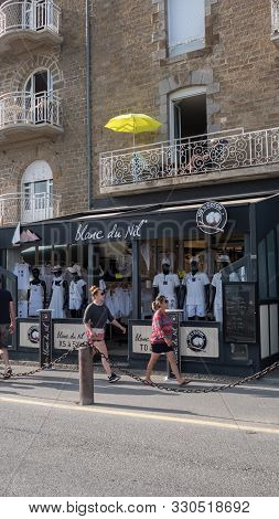 Clothing In France : Blanc Du Nil (white From Nil In French) Shop Facade Cancale, France 2019-08-08