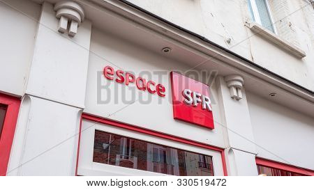 Front View Of French Phone Operator : Sfr Store Granville, France 2019-08-08