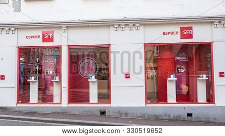 French Phone Operator : Sfr Store : Side View Granville, France 2019-08-08
