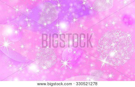 Fairy Background. Mermaid Rainbow. Holographic Magic Stars. Unicorn Pattern. Fantasy Galaxy Print. F