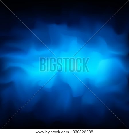 Blue Smoky Vector Abstract Background, Fog. Glowing Cloud Of Smoke On A Dark Blue Background. Сlot O
