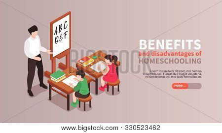 Home Schooling Isometric Horizontal Banner With Benefits And Disadvantages Symbols Vector Illustrati