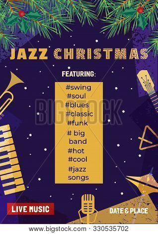 Template Design Poster Christmas Jazz. Design Idea Live Jazz Music Festival Show Flyer Promotion Adv