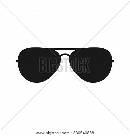 Sunglasses Black Vector Silhouette. Pilot Sunglasses Fashion Accessory Icon.