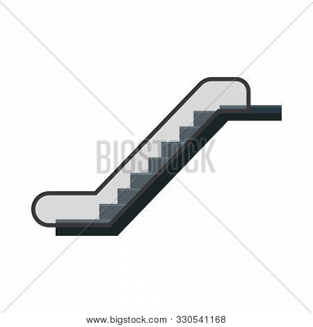 Escalator Urban Stairway Motion Walkway Electric Elevator. Lift Icon Floor Interior Vector Subway St