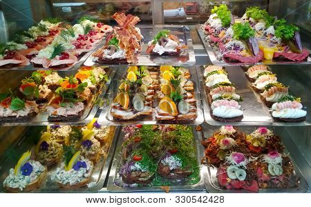 Fresh Sandwich With Shrimp And Lemon In The Danish Style, Its A Delicious Meal. It Is Served On A Pl