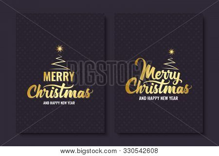 Merry Christmas. Handwritten Lettering With Christmas Tree And Shining Star. Golden Text. Template F