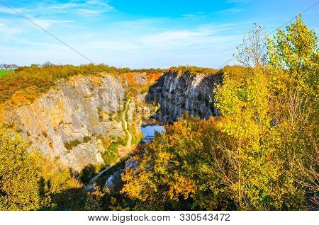 Partly Flooded, Abandoned Limestone Quarry Velka Amerika In Bohemia, Czech Republic. Tourist Destina