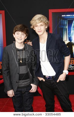 LOS ANGELES - MARCH 6: Cody Simpson and Greyson Chance at the World Premiere of 'Mars Needs Moms' held at the El Capitan Theater in Los Angeles, California on  March 6, 2011