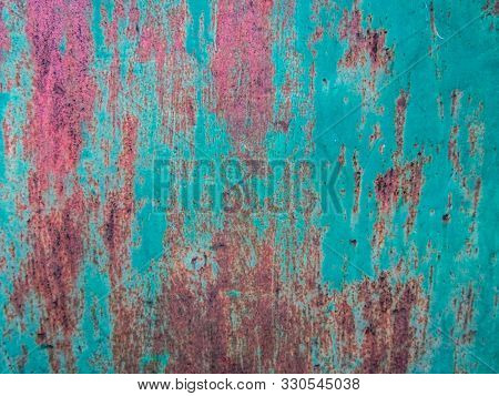 Iron Rusty Painted Fence Texture. Stock Photo